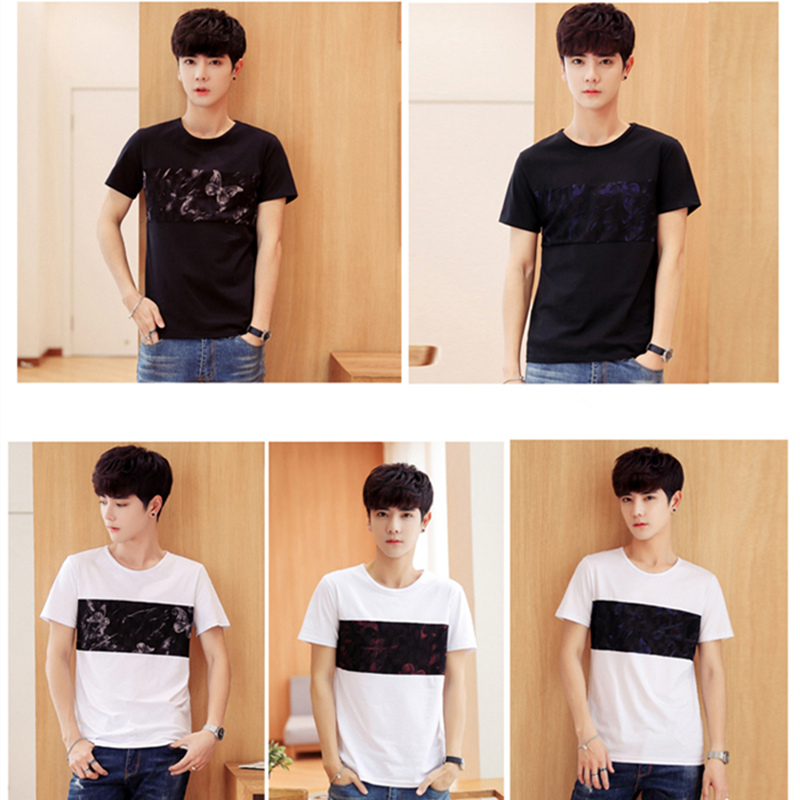 2018 New Summer Spring Hot Sale T-Shirts Short -Sleeves High-Elastic Mens O-Neck Tee Boy Hip hop Skate Tops High Quality X695