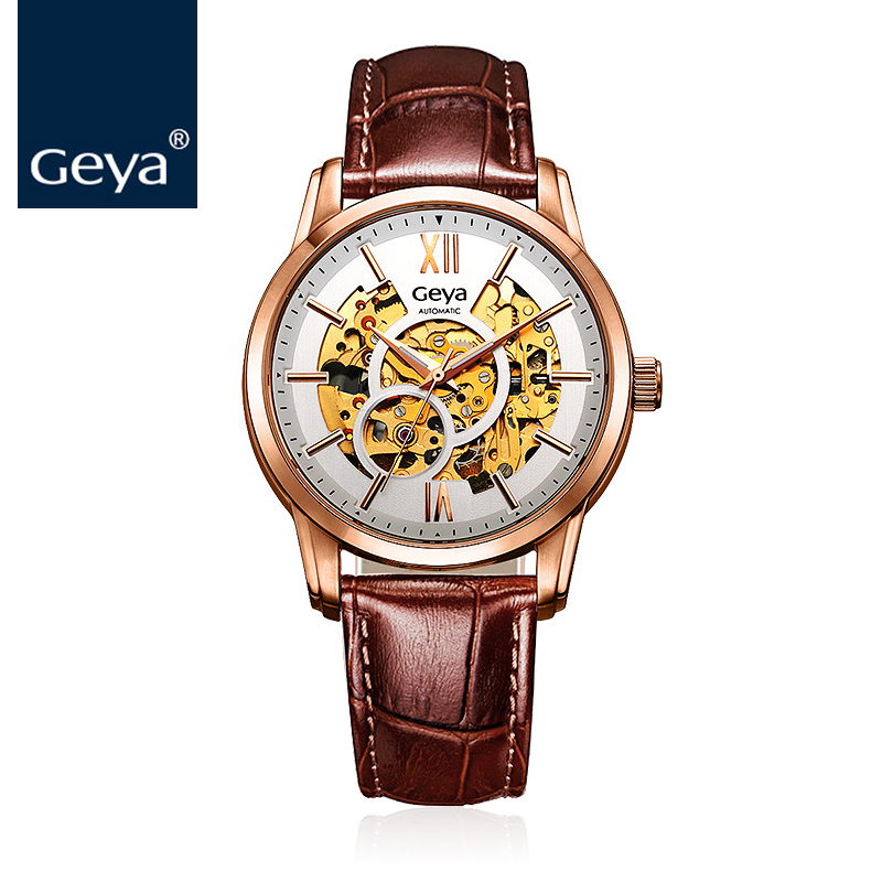 Geya New Arrival Fashion Leather Sapphire Crystal Water Resistant Business Auto Mechanical