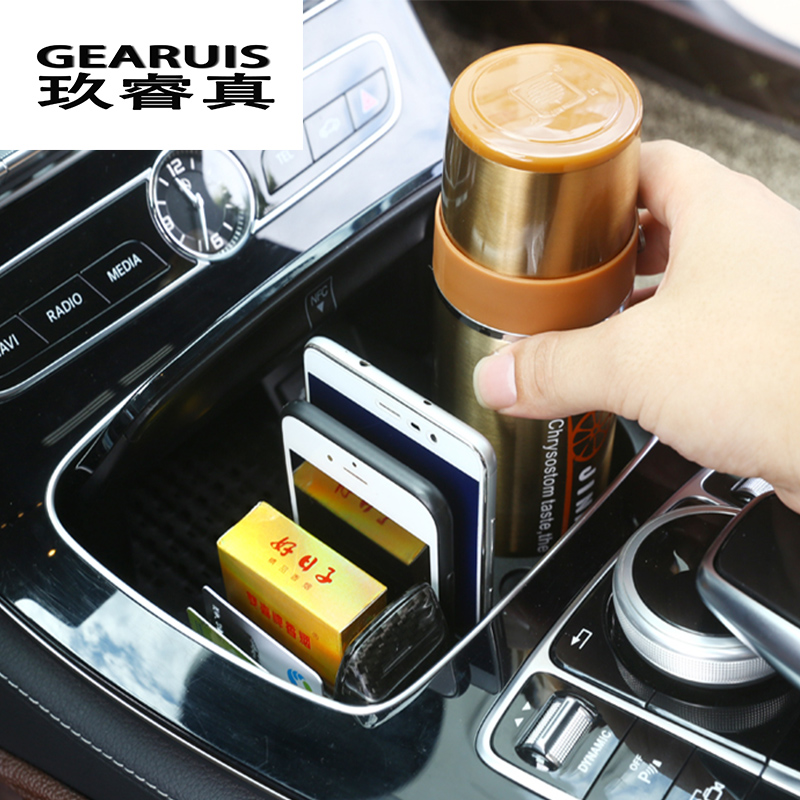 Car Interior Cup Holder Frame Panel Decorative Phone Card Holder Organizer Storage Box For Mercedes Benz C/E Class W205 W213 GLC car accessories amg exhaust cover outputs pipe tail frame trim for mercedes benz glc a b e c class w205 coupe w213 w176 w246