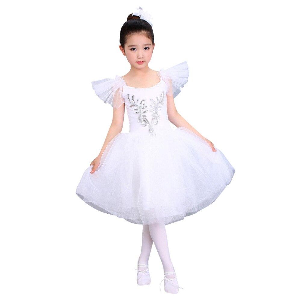 Professional White Swan Ballet Dresses Girls Children Ballerina Dress Mesh Net Yarn Dance Clothing Kids Girls Dancewear dora the explorer little girls ballet dance pajama set