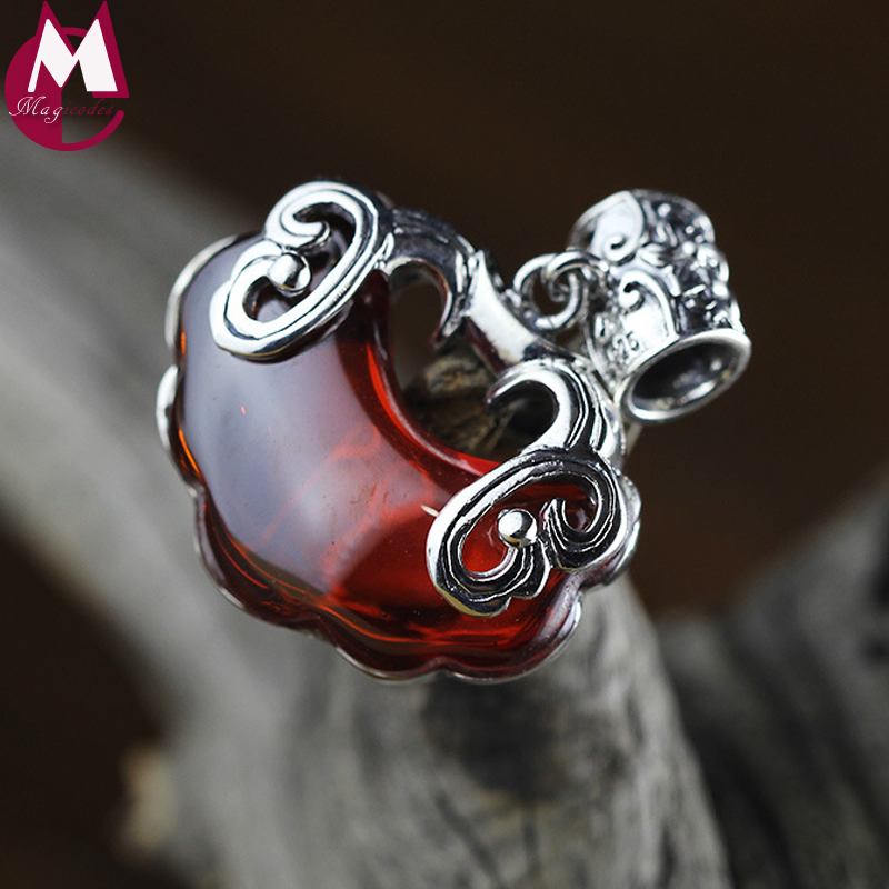 Vintage Double Fish Pendant For Women Jewelry Handmade Thai Shilver Big Lucky Lock Natural Red Garnet Necklace Pendant SP60 цена 2017