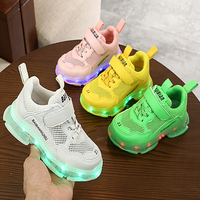 New girls fashion running shoes air mesh kids led lighted shoes USB Recharge Children luminous sneakers boys shoes whith light