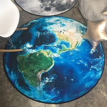 Loartee Earth Moon Landscape Round Carpet Bedroom Living Room Kitchen Childrens Home Decor Rug Washable