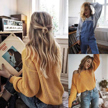Women Long Sleeve Oversize Loose Knitted Sweater Casual Grey Yellow White Winter Warm Sweaters Outwear Coat Clothes