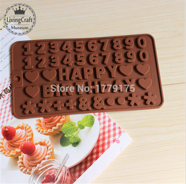 English Letters HAPPY BIRTHDAY Numbers ShapeSilicone Chocolate Cookies Baking MouldIce Cube Mold