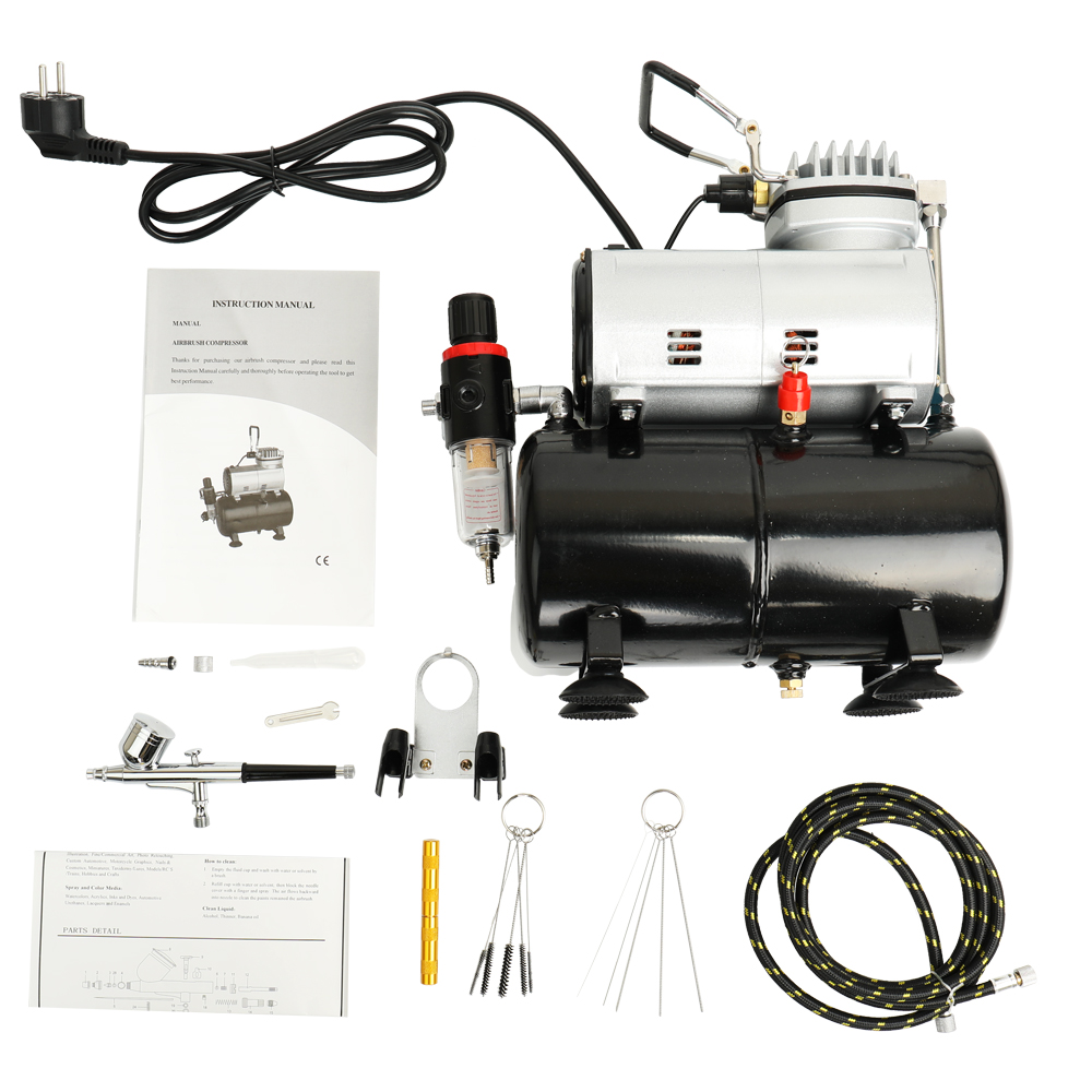 Professional Oil less Airbrush Kit Quiet Air Compressor High-pressure Pump Woodwork Air Spray Paint Compressor Blast Pump Set oil free air compressor high pressure gas pump spray woodworking air compressor small pump 550w9l