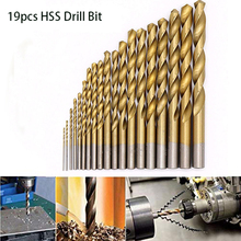 hot deal buy 19pcs hss drill bit set titanium coated twsit drill bits 1-10mm straight shank twist hss drilling power tools accessories tools