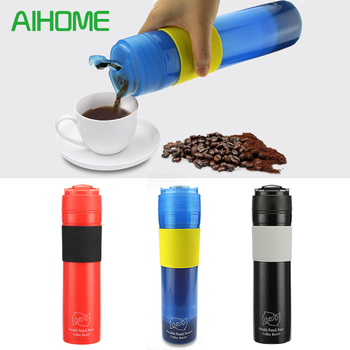 300ml Portable French Pressed Coffee Bottle Coffee Tea Maker Coffee Filter Bottle Hand Pressure Coffee Machine For Car Office
