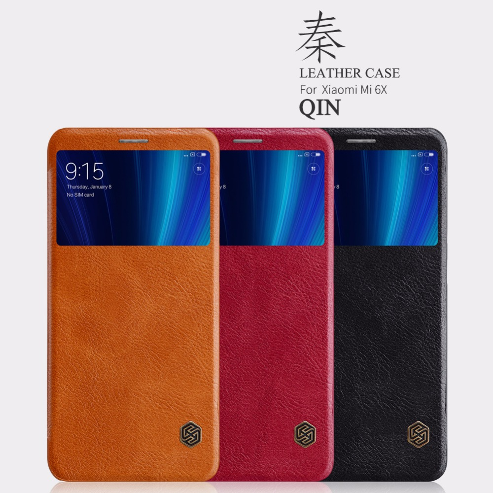 xiaomi mi5 mi5s mi6x Case Nillkin QIN Series Flip Cover Case Leather Smart Window Sleep Function Case For xiaomi mi 5 5s mi 6x