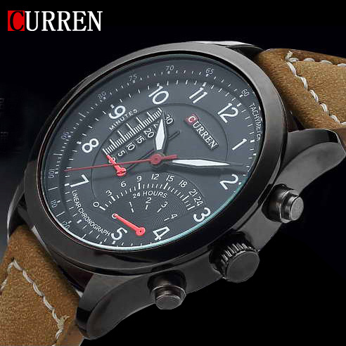 2015 New Fashion CURREN Brand Mens Luxury Watch Sports Watches Quartz Clock Hours Leather Strap Men Dress Waterproof Wrist watch new arrival curren brand men s quartz watches hot sale casual sports mens wristwatches fashion silicone straps male clocks hours