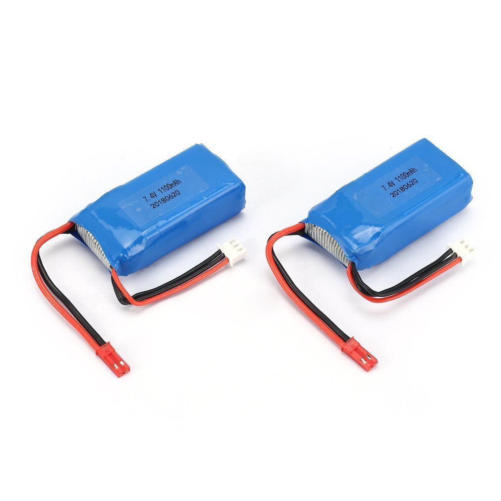 2pcs 7.4V 1100mAh 25C 2S Lipo Battery JST Plug Rechargeable for Wltoys A949 A959 A969 A979 RC Car Airplane Drone