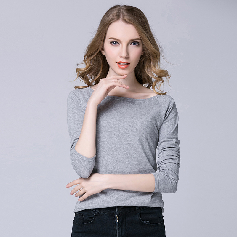 4577d2c9b Casual White Women Shirt Ladies Solid Elegant Sexy Neck Tops Long Sleeve  Boat Neck Shirts Plus Size-in T-Shirts from Women's Clothing on  Aliexpress.com ...