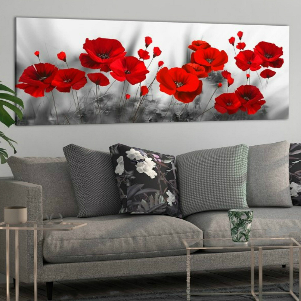 Waterproof Wall Art Poppy Flower Abstract Painting Print ...