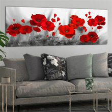 Waterproof Wall Art Poppy Flower Abstract Painting Print Canvas Nordic Poster Bathroom Decor Color Flowers Home Decoration