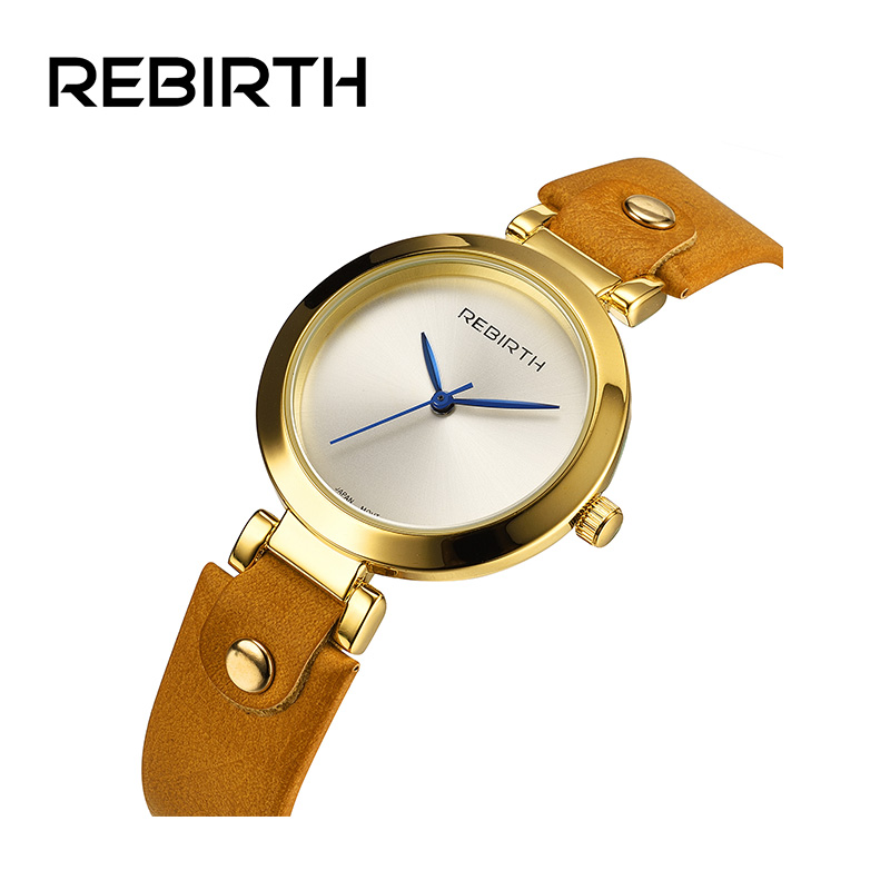 REBIRTH Fashion Top Brand Women's Watches luxury Ladies Leather Strap Watch Casual Quartz Watches For Women relogio feminino