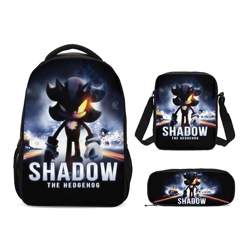 Nouveau Cartoon Sonic Shadow école sac à dos ensemble pour garçons filles adolescents sacoche pour ordinateur portable enfant bandoulière cartable porte-crayon enfants