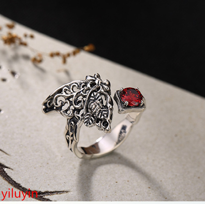 KJJEAXCMY Boutique jewelry S925 Sterling Silver Vintage, mosaic pomegranate red ring, opening the ring. kjjeaxcmy boutique jewelry s925 pure silver white yellow green chalcedony pomegranate red jade silver antique simple