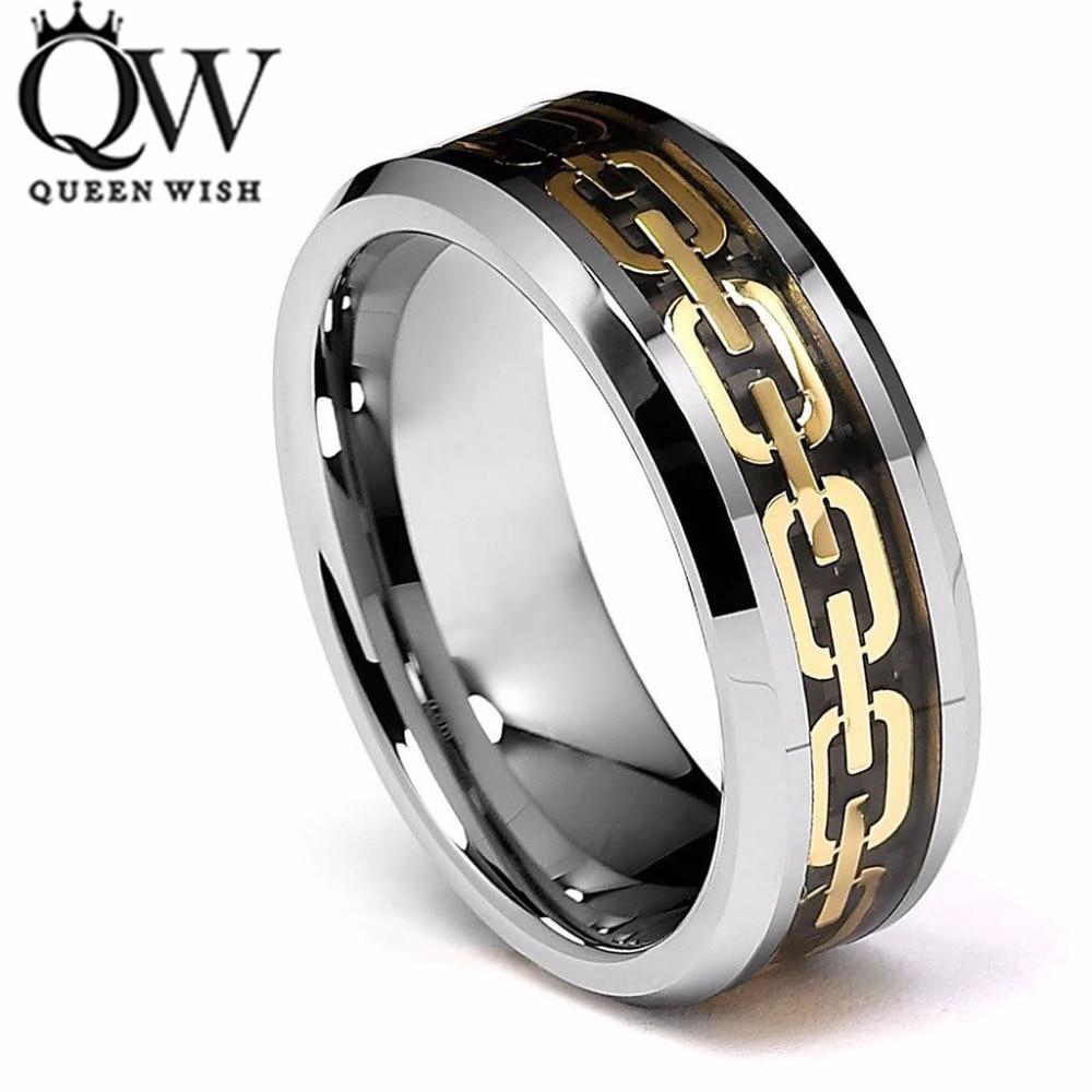 Queenwish 8mm Tungsten Ring Beveled Edge Gold Chain Link Inlay Wedding Men Ring