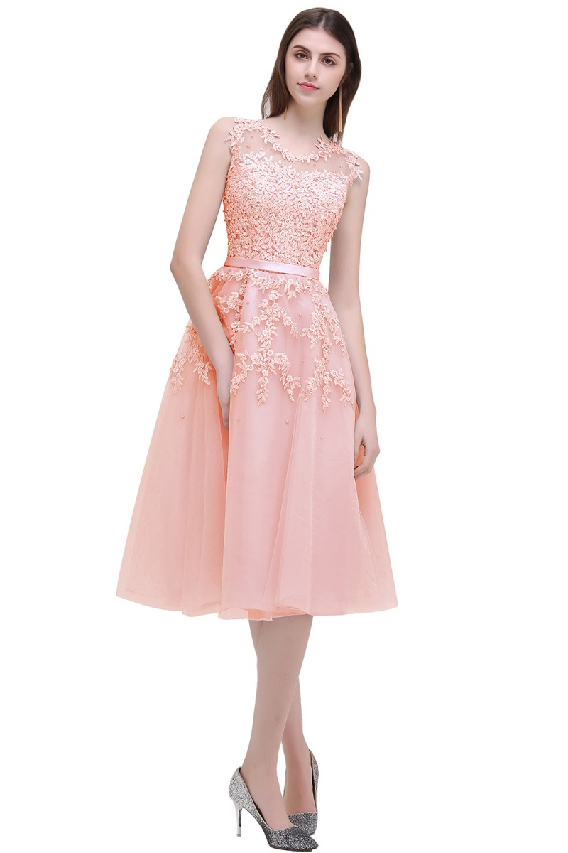 Pink Beaded Lace Appliques Short Knee Length Evening Bridesmaid Dress 1