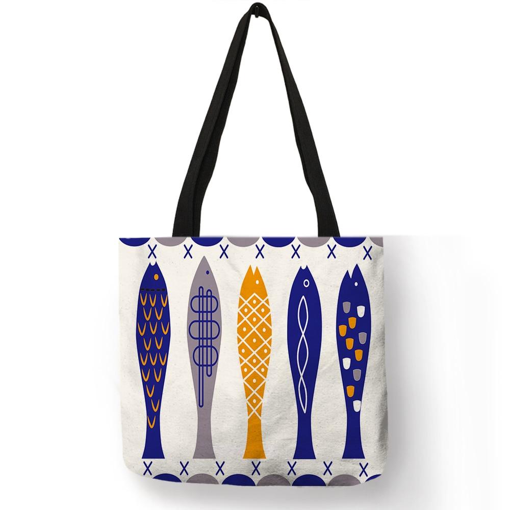 Bolso de mano personalizado para hombre y mujer, bolsa de mano con estampado geométrico colorido, motivo de peces, informal, práctico, a la moda, Unisex