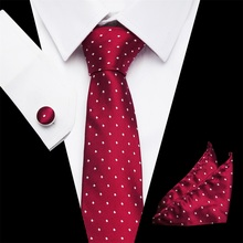 High Quality Tie Set for Men Red Dot Tie and Handkerchief Silver Necktie Man Corbatas Hombre Pocket Square Wedding Tie fashionable dot shape decorated wedding red tie for men
