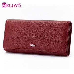 Image 2 - MELOVO wyjątkowa wyprzedaż!! 100% portfel z prawdziwej skóry wołowej portfele damskie sprzęgła długa torebka designerska torebka JL18