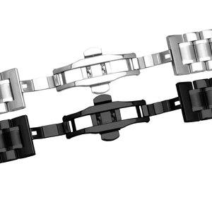 Image 3 - 23 مللي متر الفولاذ المقاوم للصدأ الأسود المعادن سوار استبدال الصلب حزام الرجال معصمه ل lumox