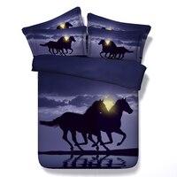 Стеганое одеяло с лошадью постельные принадлежности набор 3D лошади простыня Стёганое одеяло пододеяльник белье покрывало супер Король Раз