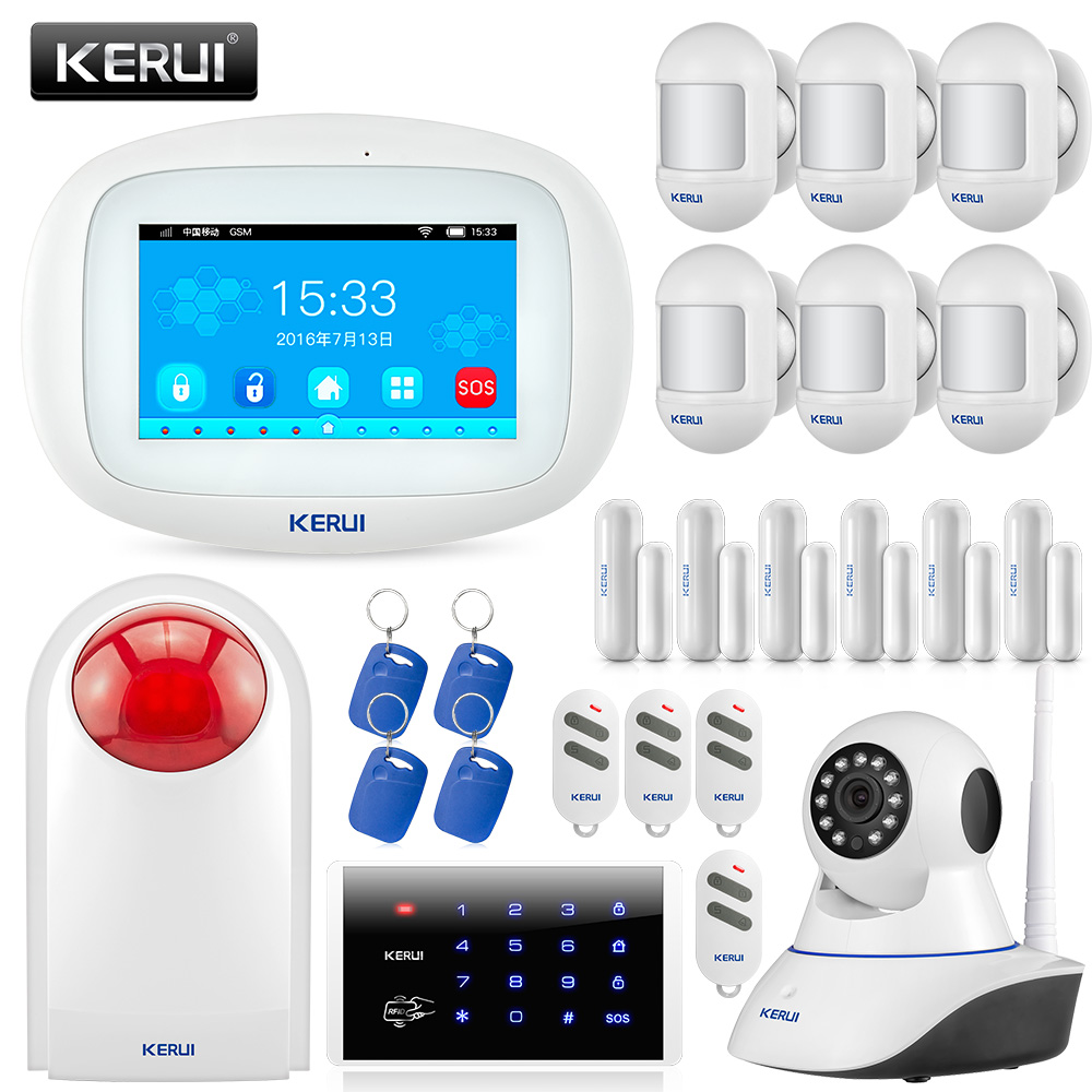 KERUI K52 4.3 Inch TFT Color Touch Screen Wireless home Security Burglar Wifi gsm alarm system With 720P Surveillance IP Camera alc aws3266 7 inch connected touch screen surveillance system black