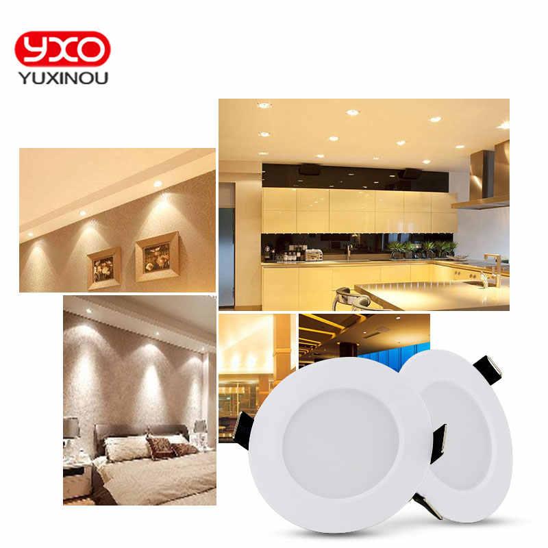1 шт. Алюминий круглый светодиодный светильник 3 шт/Светодиодная лампа меняющая цвет Панель свет AC220-265V Встраиваемый светодиодный потолочные лампы