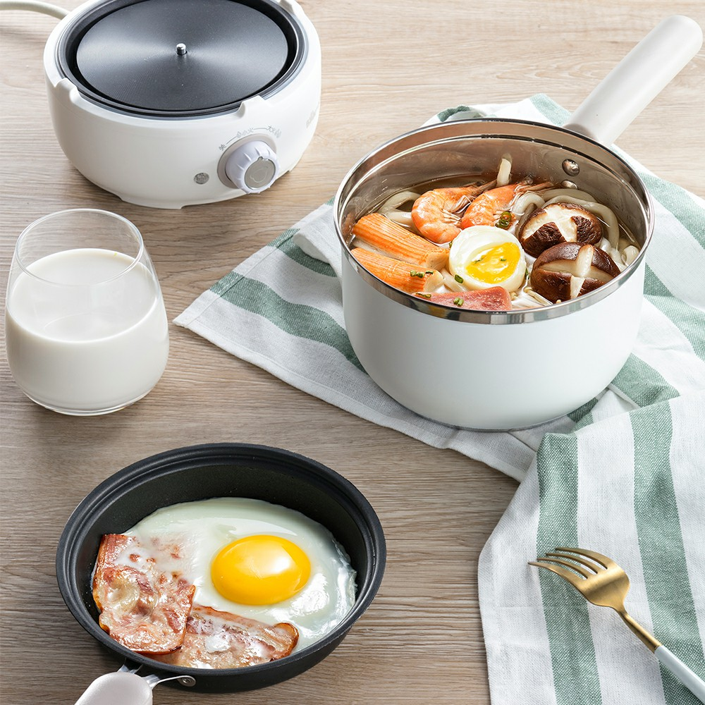 Bear Multi-functional Electric Cooker Mini Dormitory Cooking Hot Pot cukyi multi functional programmable pressure cooker rice cooker pressure slow cooking pot cooker 4 quart 900w stainless steel
