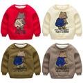 Bebé oso sudadera 2016 Otoño Camiseta de Los Muchachos Niño niños de Algodón de Manga Larga T-shirt niño, además de terciopelo engrosamiento paño grueso y suave
