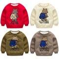 Bebê urso do menino moletom 2016 Outono Meninos T Shirt Da Criança meninos de Algodão de Manga Longa Camisetas criança além de veludo espessamento fleece