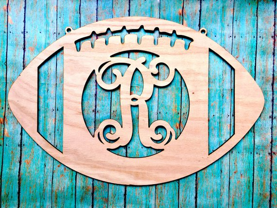 Wooden Initial Football, Door Sign, Home Decor, Name Sign