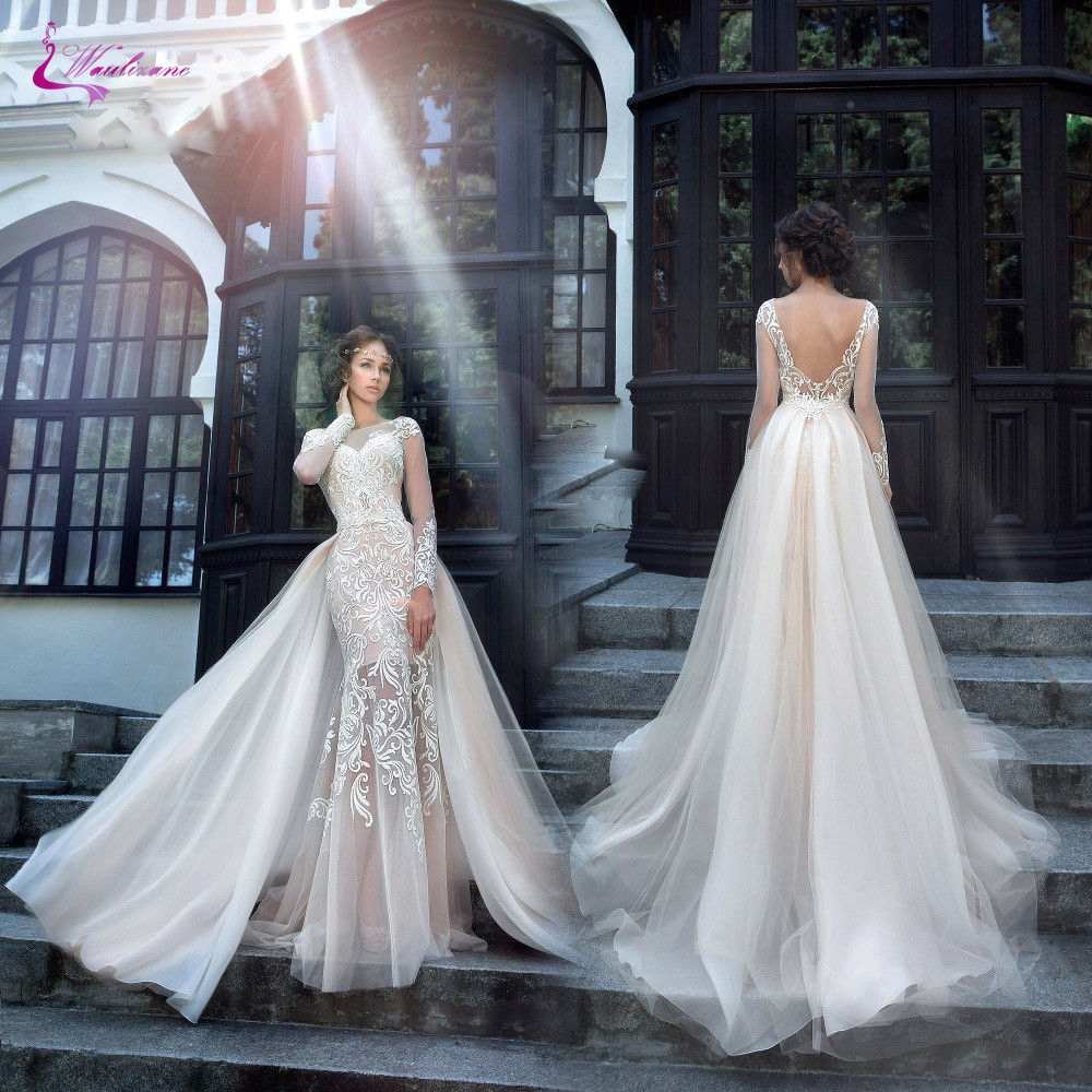 Waulizane Chic Tulle Bridal Gown Exquisite Embroidery 2017 O-Neck 2 In 1 Detachable Train Wedding Dress Customize Made Plus Size gown