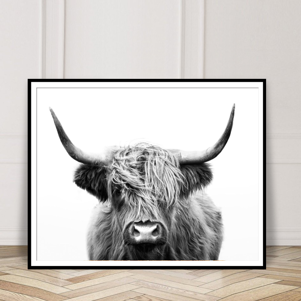 Kids Room Decor Simple Nordic Decoration Nursery Girl Wall Art Black And White Highland Cow Canvas Art Print And Poster