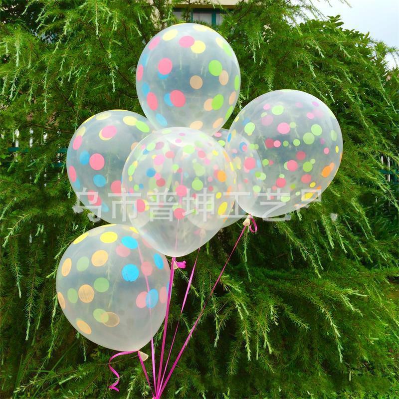 10pcs 12 Inch Clear Transparent Latex Polka Dots Balloons Wedding Birthday Balloons Decoration Globos Party Anniversary Ballon