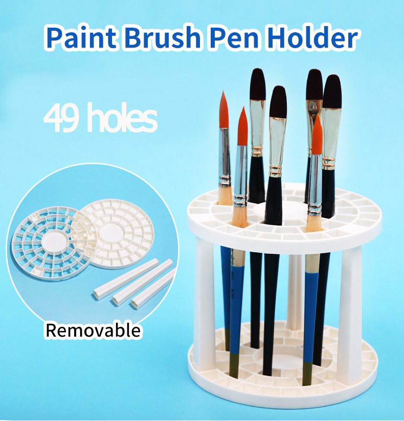 Paint Brushes Pen Holder 49 Holes Pen Rack Display Stand Support Holder Watercolor Painting Brush Pen Holder Art Supplies
