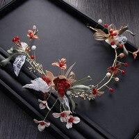 MANWII De cheveux de Mariée avec robe coiffe fleur de perle fait main tête bande de cheveux hoop accessoires de mariage mariée costumes bijoux AQ2111