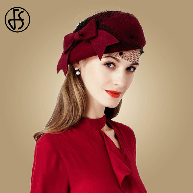FS Wine Red Hats Wool Beret French Pillbox With Veil Felt Fedoras Bowknot Fascinator Wedding Party Church Hat