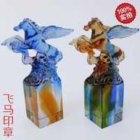 Actividades de negocios y regalo de cumpleaños creativo caballo logo Fulin vidrio artesanías sello personalizado Pegasus