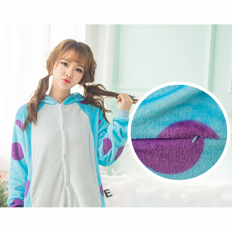 Monster Sullivan Pajama Women Animals Onesie Kigurumi Anime Cosplay Costume Adult Flannel Mascot Set Part Winter Warm  Sleepwear