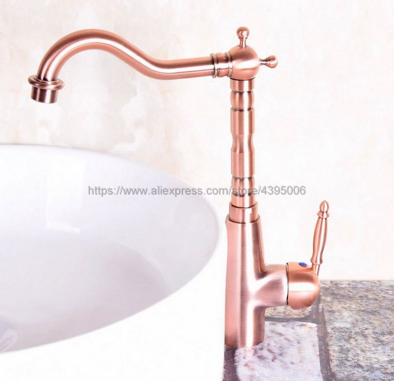 Antique Red Copper Deck Mount Bathroom Faucet Vanity Vessel Sinks Mixer Tap Cold And Hot Water Tap Bnf129Antique Red Copper Deck Mount Bathroom Faucet Vanity Vessel Sinks Mixer Tap Cold And Hot Water Tap Bnf129