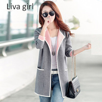 Liva Girl 2017 Autumn Women Fashion Knitted Sweaters Long Sleeve Cardigan Stand Collar Sweater Women Patchwork