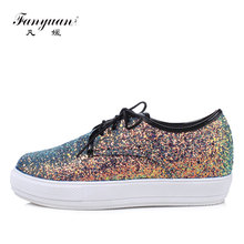 Fanyuan spring Plus size women Platform flats luxurious Bling Party lady flats fashion Mixed color Lace-up girls Glitter shoe