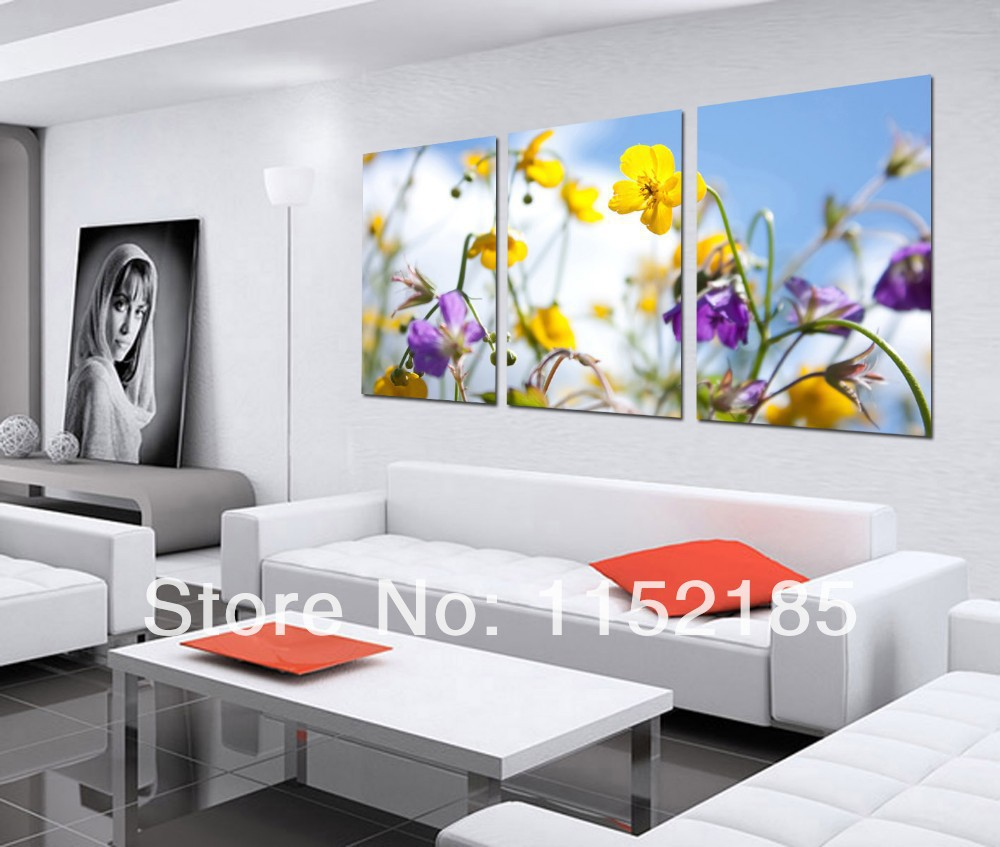Aliexpress Com Buy Free Shipping 3 Piece Wall Decor: Aliexpress.com : Buy Free Shipping Realist Yellow Purple