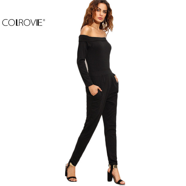 COLROVIE 2017 New Arrival Sexy Ladies Black Off The Shoulder Peg Long Sleeve Twin Pockets Work Wear Jumpsuit