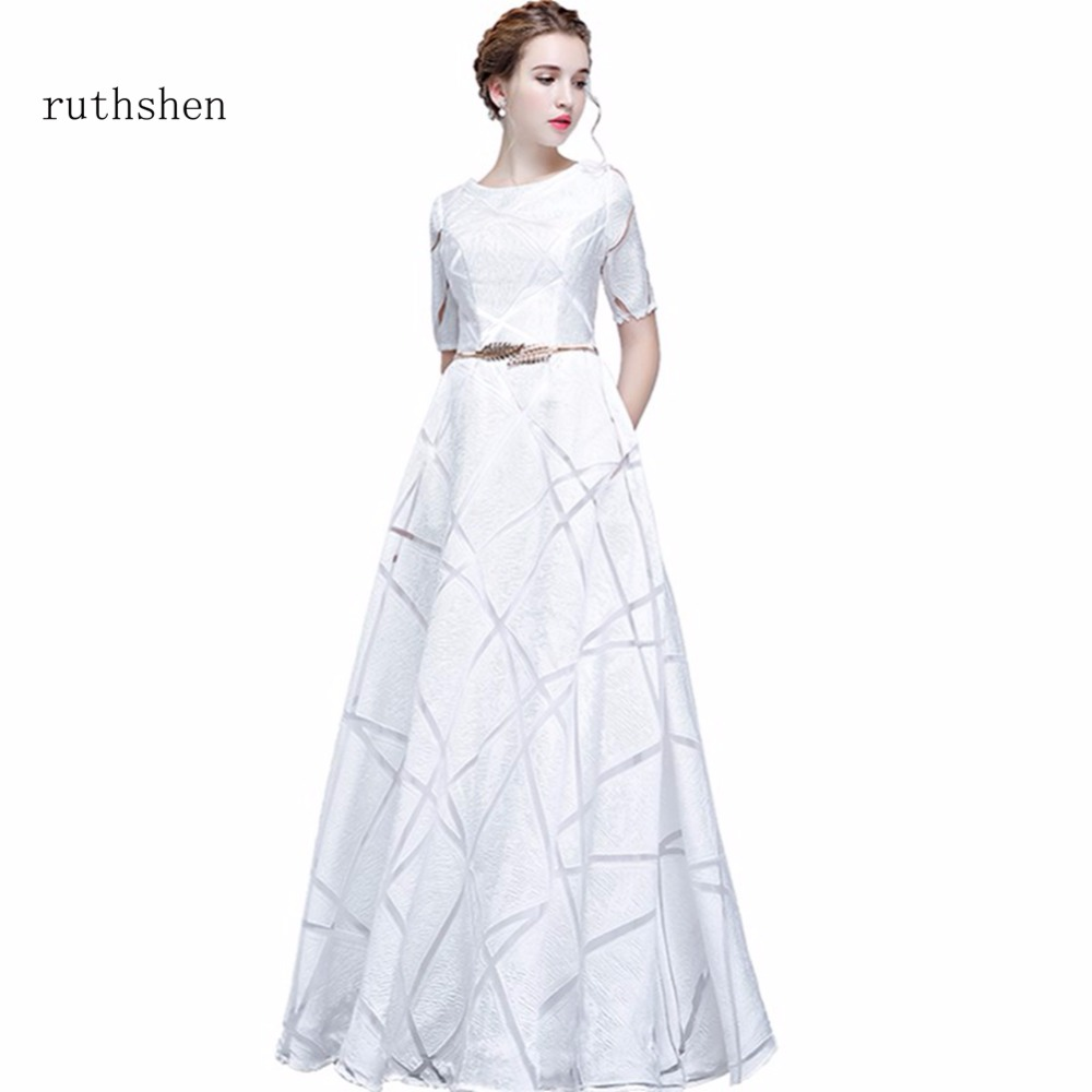 ruthshen Vintage A Line Prom Dresses 2018 New Long Floor Length Prom Gowns Cheap Short Sleeves Vestidos De Formatura In Stock