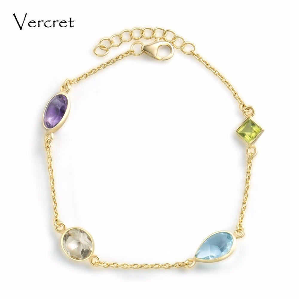 Vercret elegant Amethyst Citrine Peridot Blue Crystal bracelet 18k gold 925 silver bracelets for women jewelry