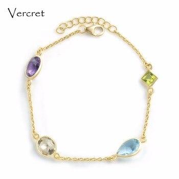 8d970a9ce8ce Vercret elegante amatista peridoto citrino azul pulsera de cristal de oro  de 18 k 925 pulseras de plata para la joyería de las mujeres regalo de  preventa